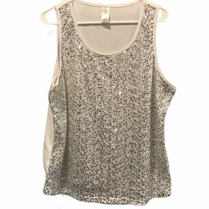 Women's White tank top silver sequins size 1x